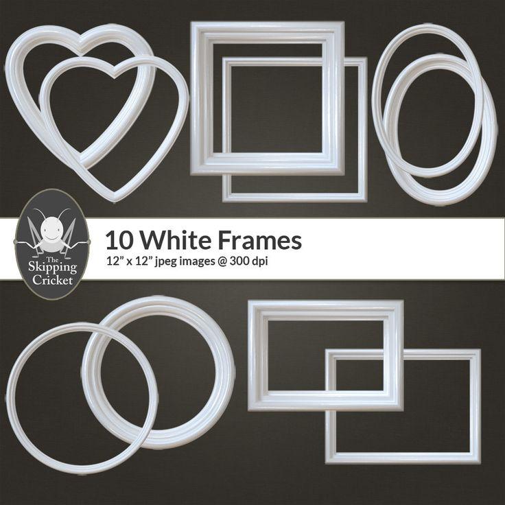 White digital frames, white frame overlays, digital frame overlays, white frame clipart, heart shaped frames, oval frames, DIGITAL DOWNLOAD by theskippingcricket on Etsy