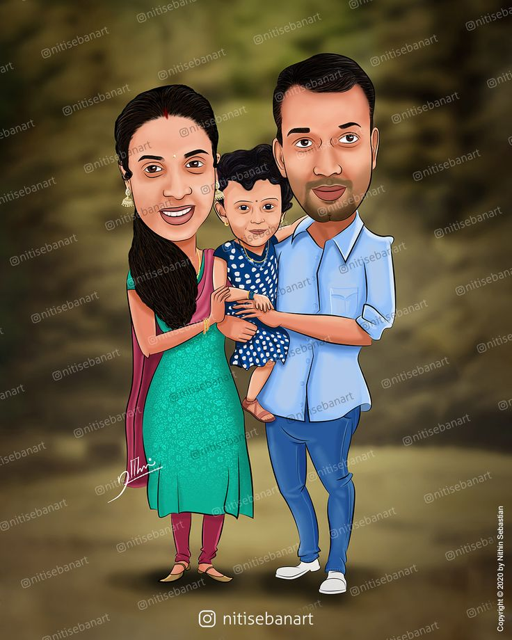 3 People Family Caricature 2 Wedding Caricature Caricature Wedding Caricature