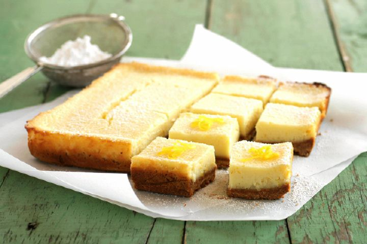 Cool Cream Cheese Lemon Bars - low carb - 3 grams net carbs per square - quick, easy, yummy