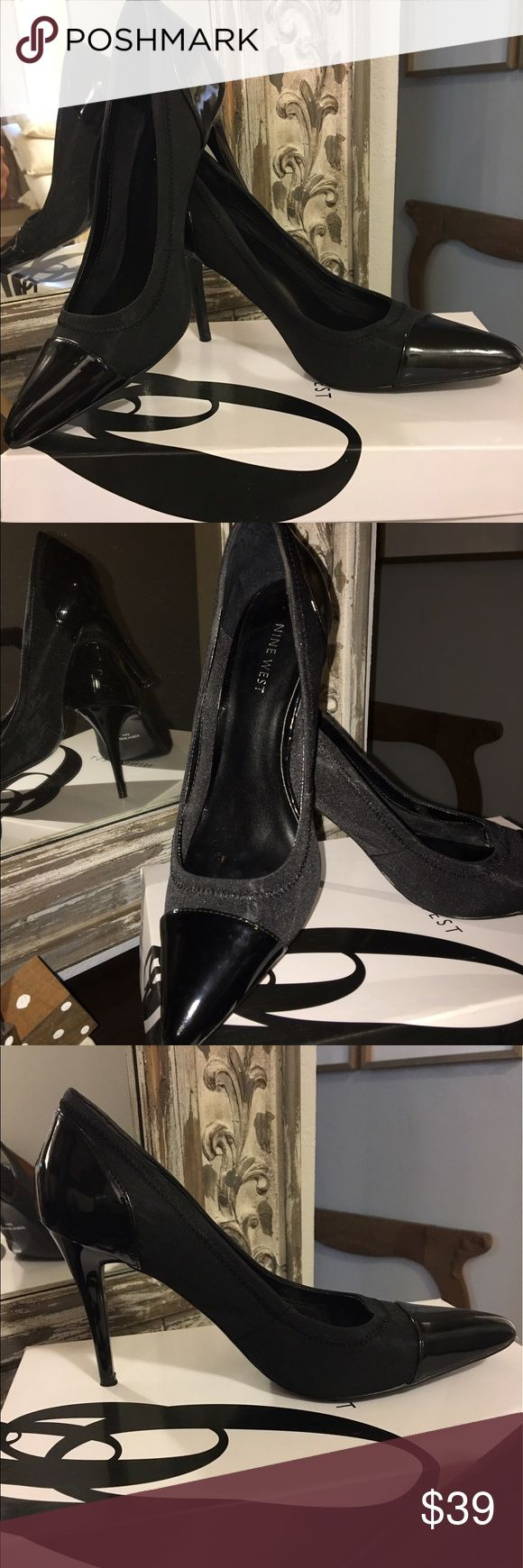 Nine West Patent Leather & nylon black heels 8M Nine West patent leather and nylon heels size 8 medium. Worn once or twice. Just GORGEOUS!!!! 🖤👠 Nine West Shoes Heels