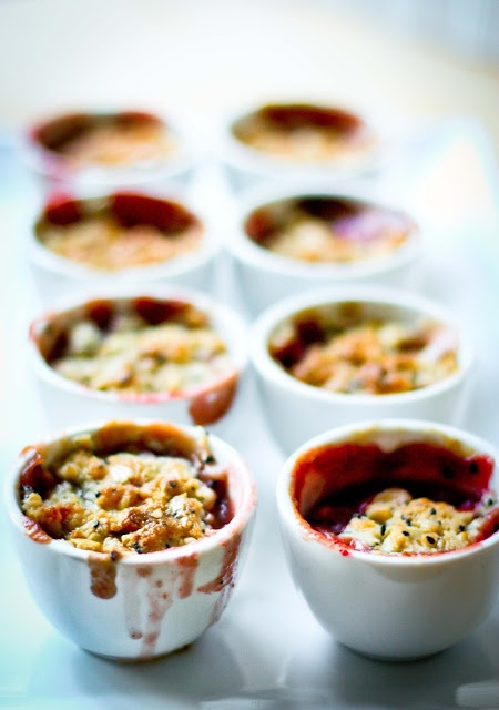 feasting at home: Mini Pear and Berry Crumbles with Nigella Seeds