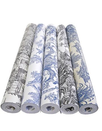 Traditional toile wallcoverings. WALLPAPERS, STARTING AT $34/ROLL; YORKWALL.COM.