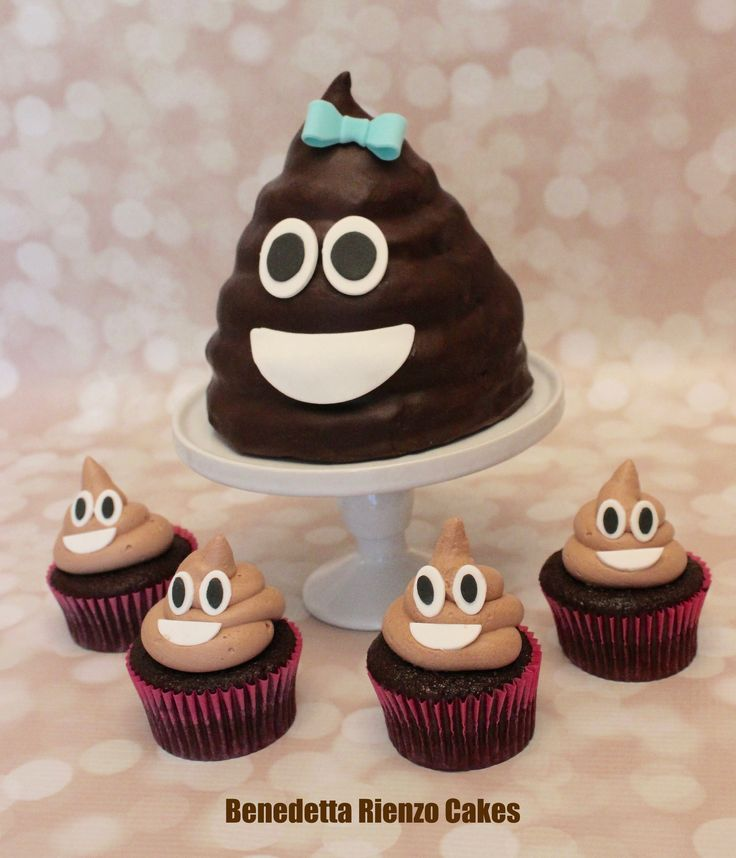 Girly Poop Emoji Cake Topper And Poop Emoji Cupcakes By