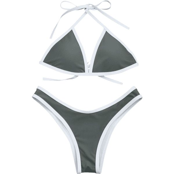 High Cut Contrast Piping Bikini Set (805 INR) ❤ liked on Polyvore featuring zaful