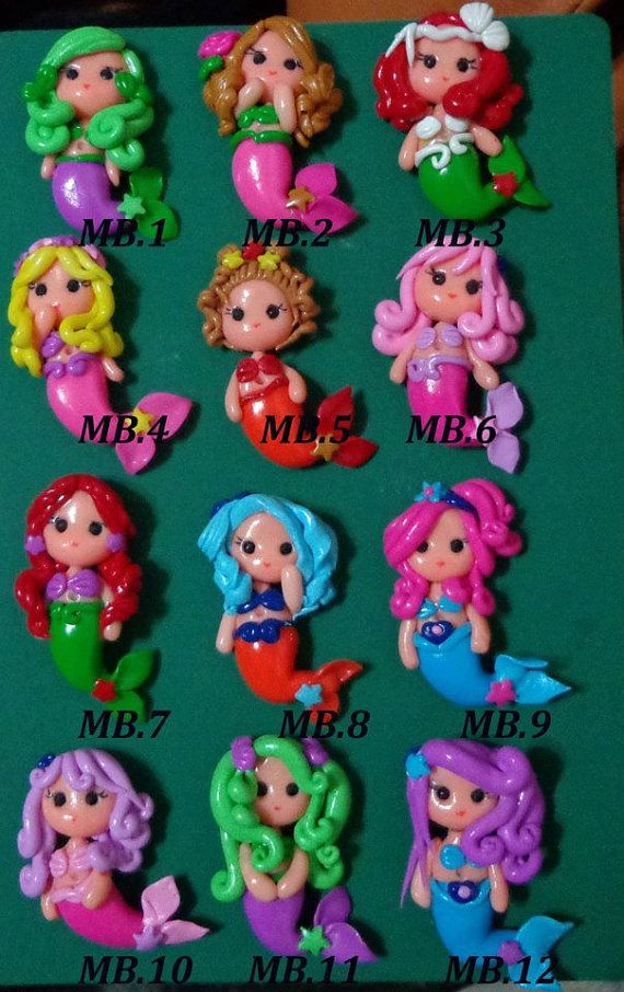 Set of  Mermaid Polymer Clay Charm Bead Scrapbooking Embelishment Bow Center Pendant Cupcake Topper