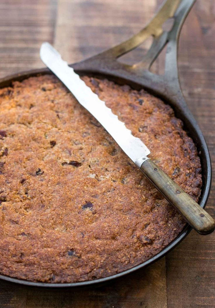 I love cookies, and what's better than a whole skillet of them? This chewy chocolate chip cookie bar recipe from Dorie Greenspan will please everyone!