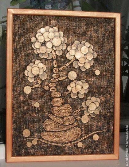 """Купить Картина """"Бронзовое денежное дерево"""" - необычный подарок, оригинальный подарок, подарок для мужчин"""