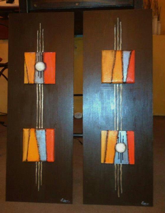 Cuadros JOANA #9 4 piezas de 10 x 10 2 piezas de madera de 20 x 50