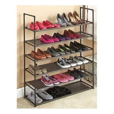 This Shoe Rack Storage Organizer is stackable, changeable and versatile! This 6-Tier Storage Rack holds up to 24 pairs of shoes or use it for handbags/purse