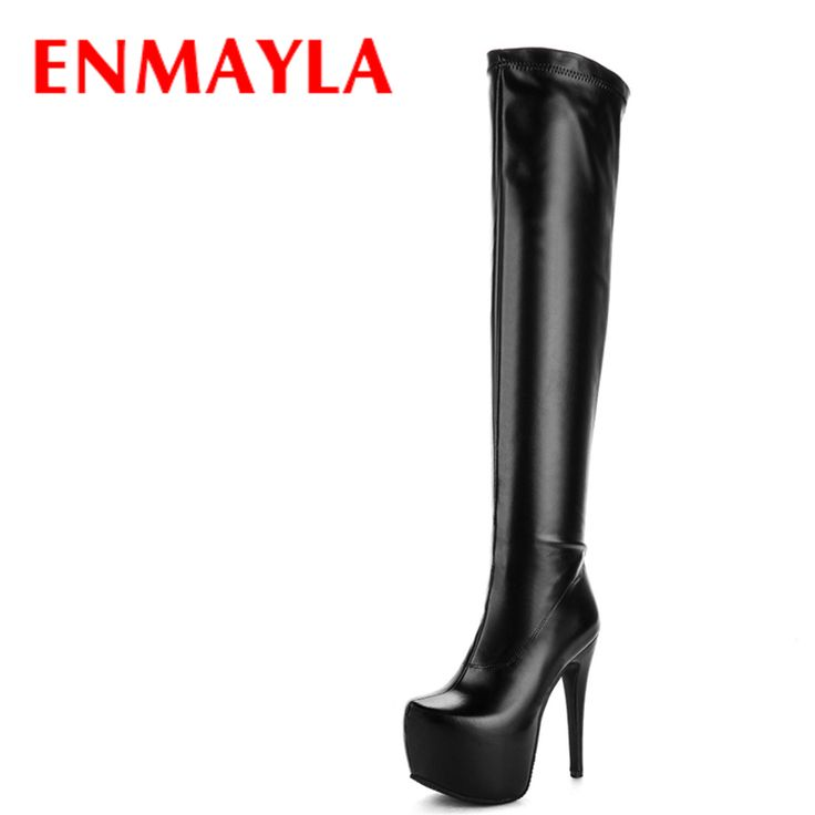 ENMAYLA Sexy 14.5cm Extreme High Heels Winter Boots Women Platform Thigh High Boots Black Shoes Woman Club Over the Knee Boots #Thigh high boots