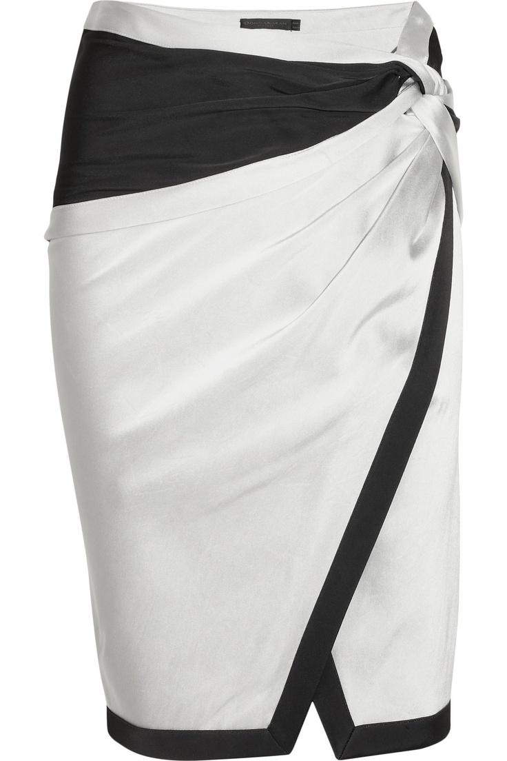 DONNA KARAN Satin and crepe skirt, fabulous!!!