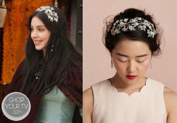 Mary Queen of Scots (Adelaide Kane) wears this Swarovski crystal, golden leaves, and ivory blooms headpiece in the premiere episode of Reign...