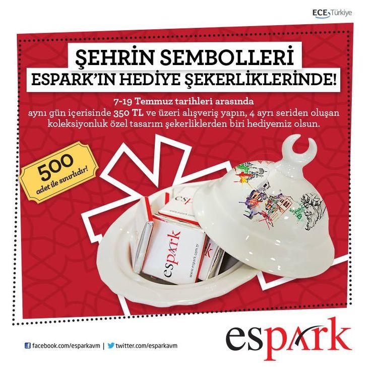 Şehrin sembolleri #Espark'ın hediye şekerliklerinde! 7 - 19 Temmuz tarihleri arasında yapacağınız 350 TL ve üzeri alışverişlerinize şekerlik hediye.