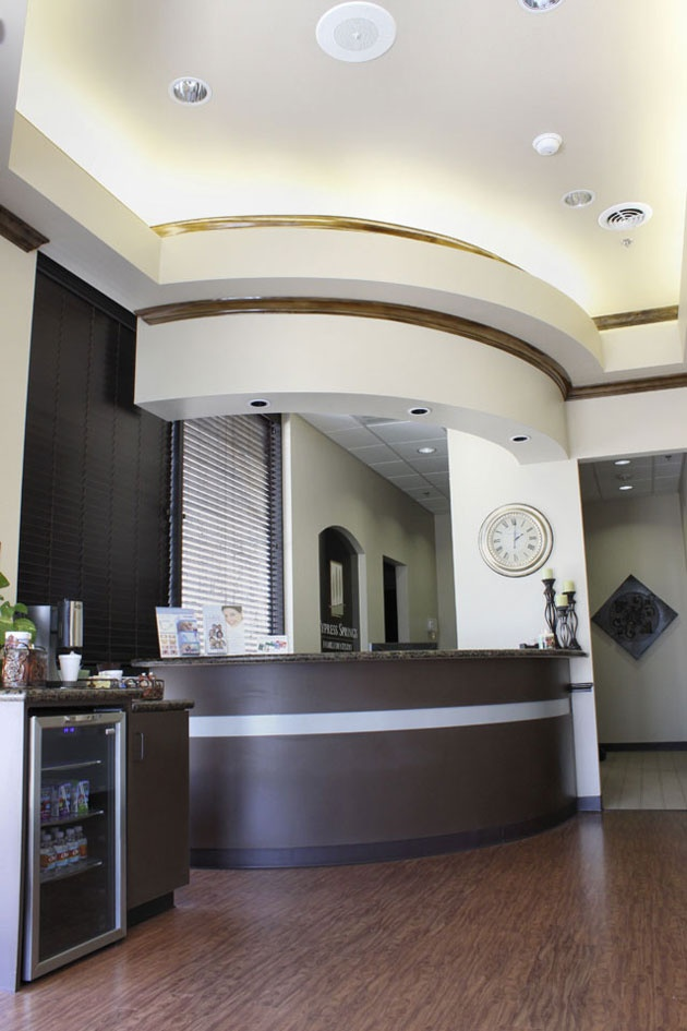 rounded front desk