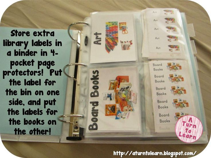 Whenever I set up my library, I always end up printing out extra labels and I love this way of organizing them... store the extra labels in a binder in special page/pocket protectors!