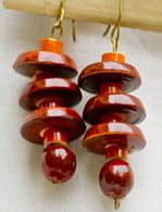 Elegant looking wood and lacquer eardrops