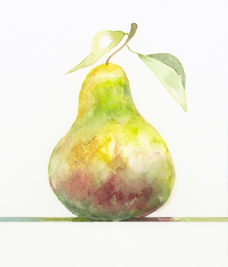 Jake Marshall watercolor. A pear, number 3 in a series of pears perched on colored lines.