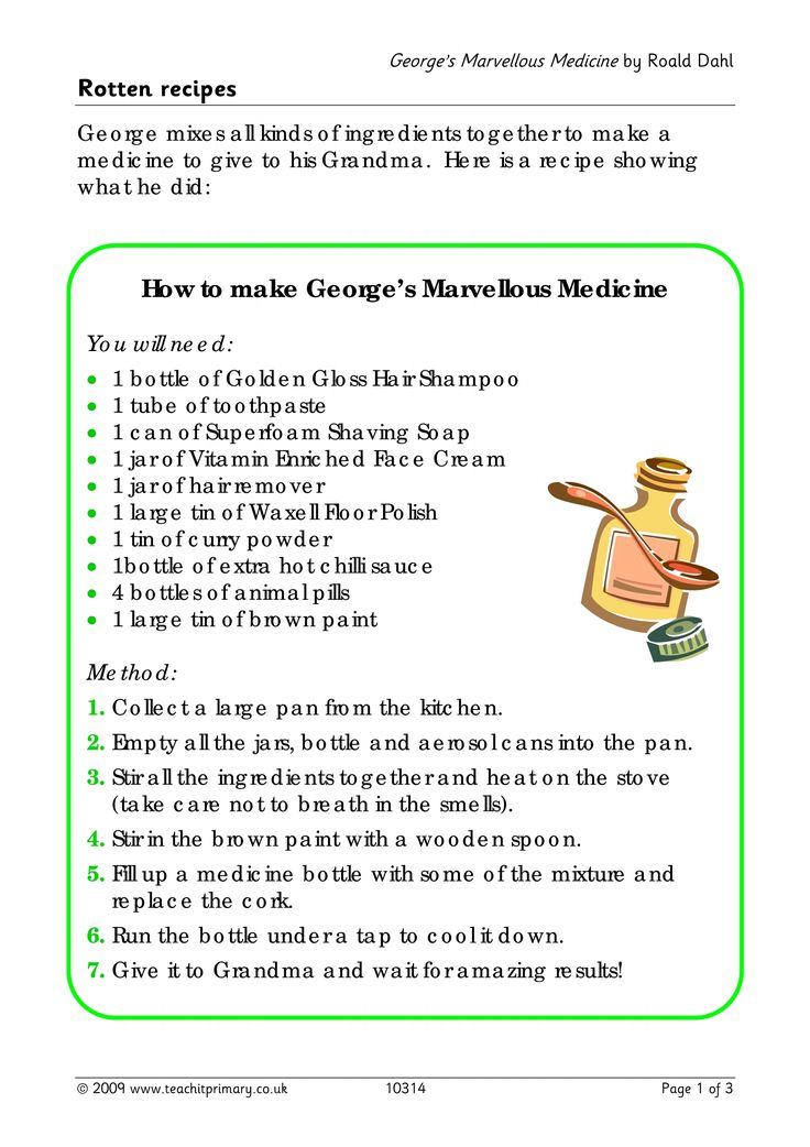 George's Marvellous Medicine - write a recipe