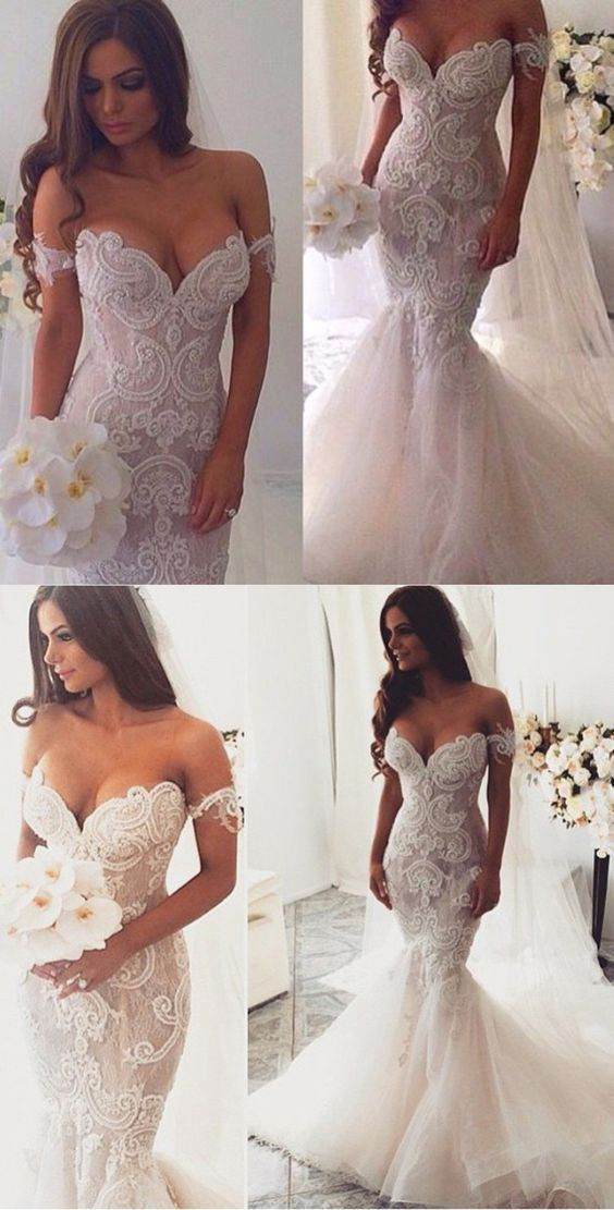 Mermaid Sweetheart Wedding Dresses,Off the Shoulder Tulle Bridal Dresses,Lace Appliques Ivory Wedding Dresses,Wedding Dresses DC100 #mermaid #weddingdresses #offshoulder #lace #bridaldresses #tulle #vneck
