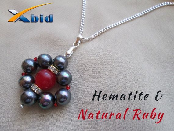 Necklace Sterling Silver 925 and Pendant With Hematite by xabid, $22.00