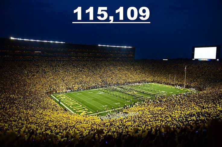 ALL-TIME RECORD: The largest crowd ever to watch a college football game (115,109) is packed into Michigan Stadium tonight.