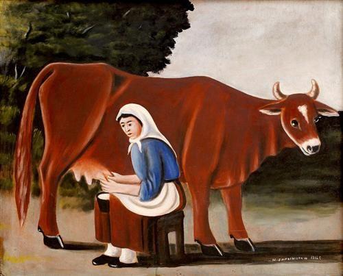 ფიროსმანი (ნიკო ფიროსმანაშვილი) Женщина доит корову - Нико Пиросмани