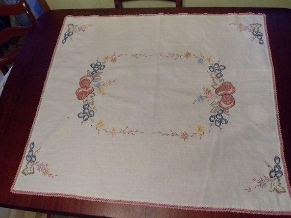 Bordada a mano fruta mantel mesa de algodón cubierta