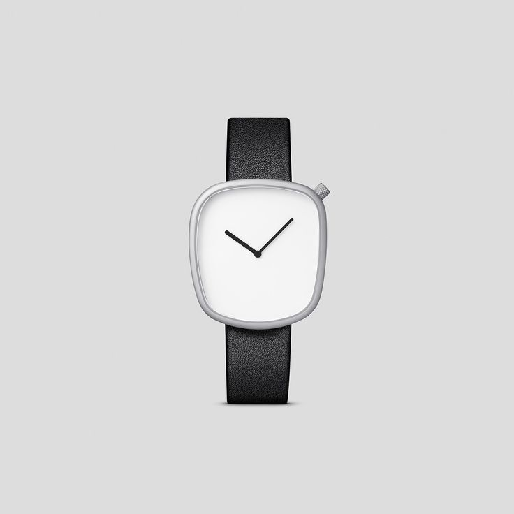 MATTE STEEL ON BLACK, ITALIAN LEATHER.  Designed by acclaimed, Danish design trio, KiBiSi, and inspired by the worn pebbles found along Scandinavian coastlines, the Pebble watch is a carefully considered timepiece created through a comprehensive process combining time-honored craft and idea-driven innovation.