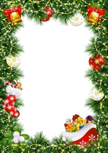 Christmas Photo Frame with Christmas Ornaments