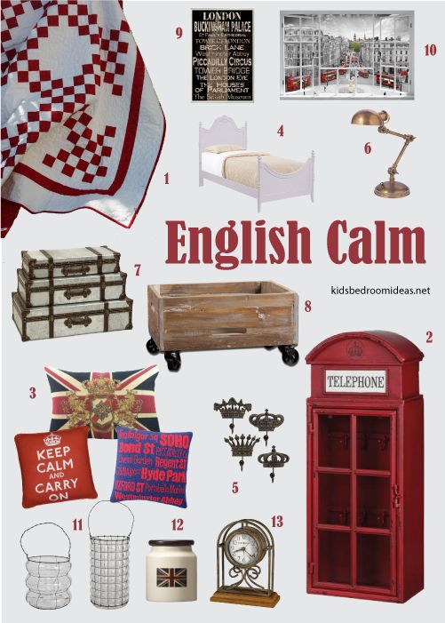calm cream, white and red bedroom with british theme