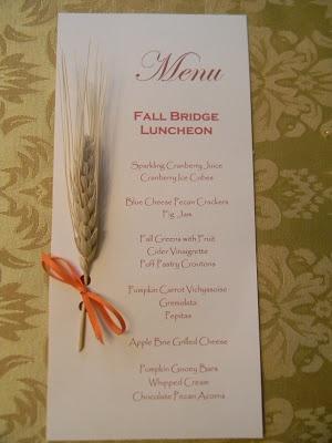 Menu Card: A Toile Tale: Bridge Buddies' Fall Luncheon