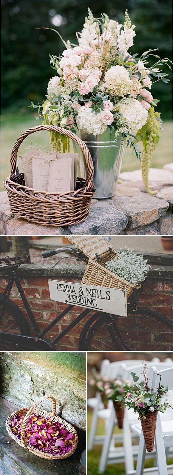 cestas ideas para decorar bodas y fiestas en el campo