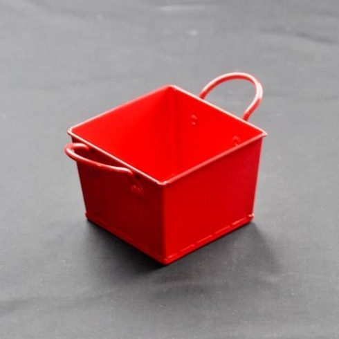 Red square metal bucket