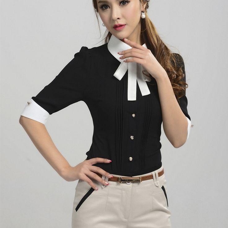 Ladies Tops New 2016 Spring Summer Korean Fashion White Black Pink Blue Half Sleeve Bow Tie Formal Blouses Women Office Shirts