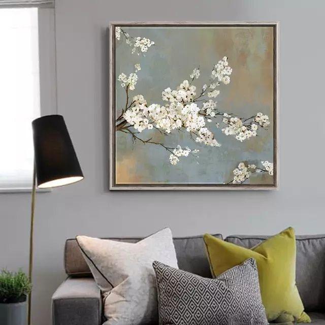 Moderno Camera Da Letto Ciliegio.Bianco Ciliegio Fiori Pittura Stampe Su Tela Home Decor Soggiorno
