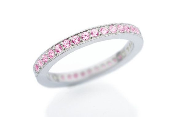 Eternity Pink Sapphire Wedding Band. Pave Sapphire Ring by CaiSanni