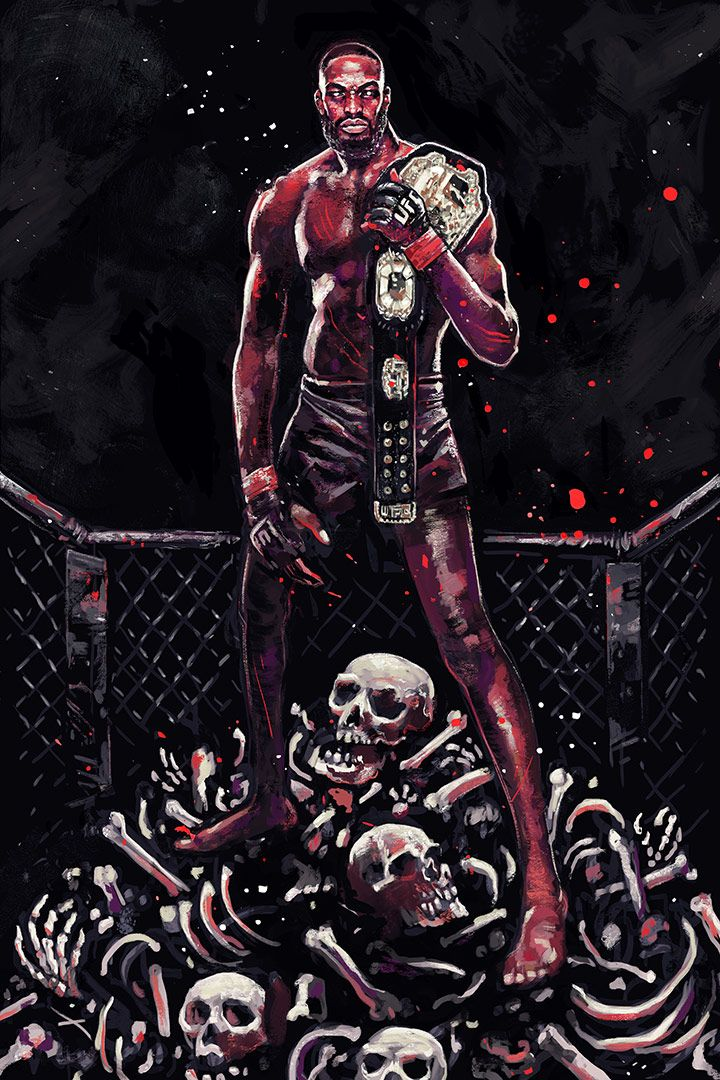 """gruesome artwork of Jon """"Bones"""" Jones : if you love #MMA, you'll love the #UFC & #MixedMartialArts inspired fashion at CageCult: http://cagecult.com/mma"""