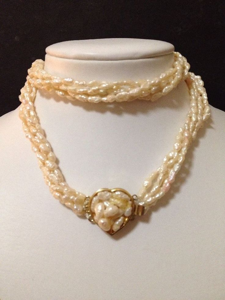 Estate Find - Vintage 5 x Strand Seed Pearls Necklace w/ Gold Tone Heart Clasp