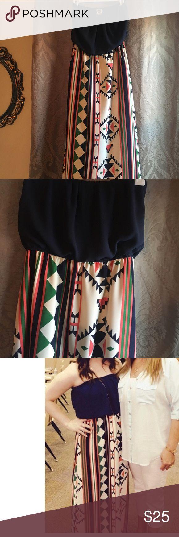 Maxi tribal print dress Navy blue top and tribal print maxi dress, perfect for summer vaca. Sz small Macy's Dresses Maxi