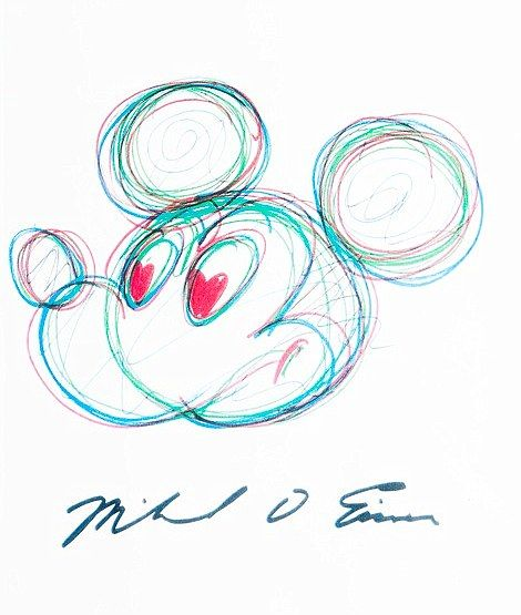 Former Disney chairman Michael Eisner sketched a picture of Mickey Mouse