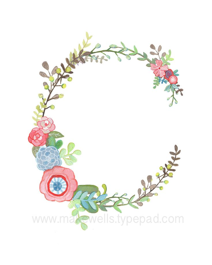 C Floral Letter print by Makewells on Etsy