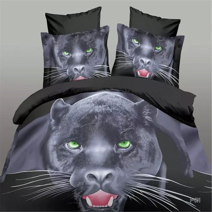 EsyDream 3D Oil Painting Black Panther Leopard Boys Duvet Cover 4PC/Sets Queen Full Size No Comforter //Price: $38.27 & FREE Shipping //     #hashtag4