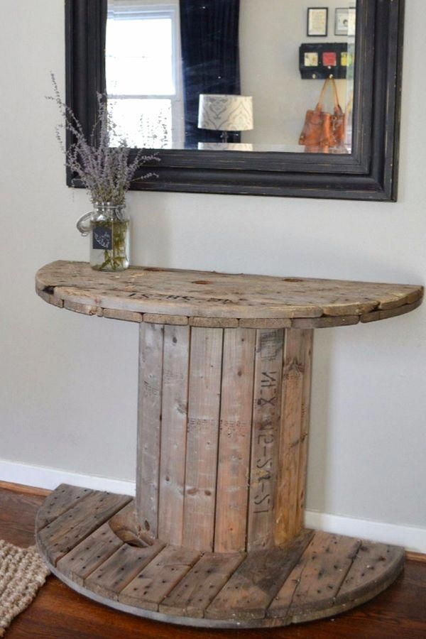 Cheap Rustic Decor Ideas for the Foyer - cable spool foyer table