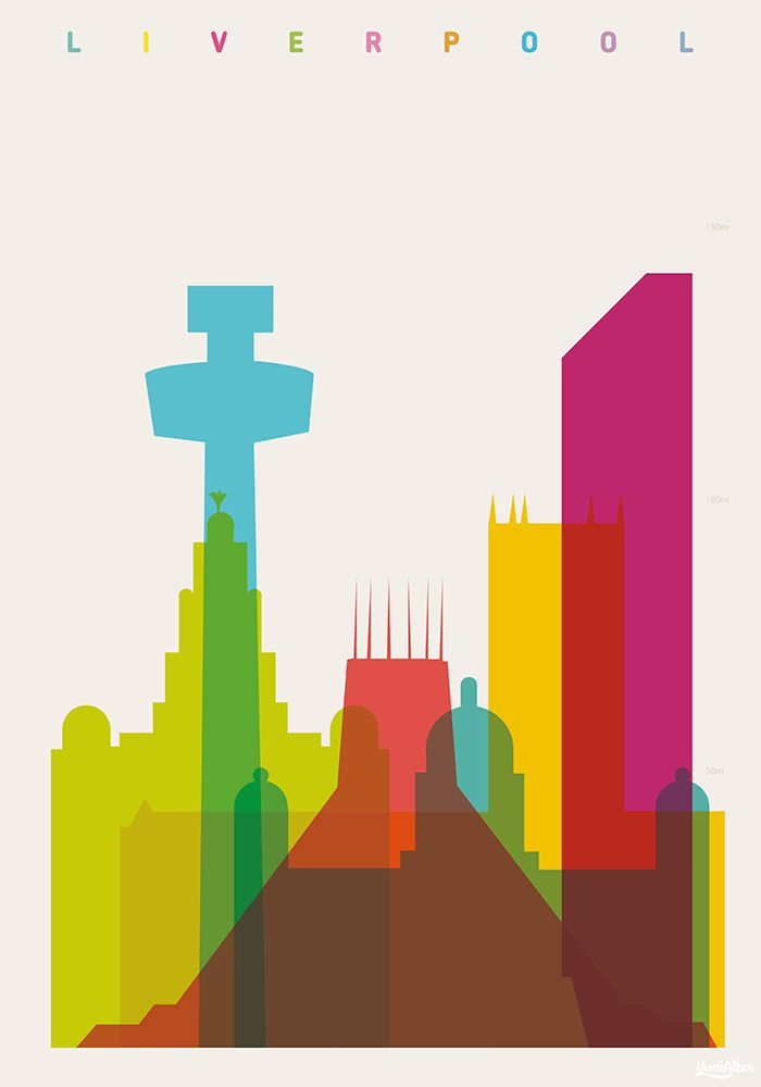 Shapes of Liverpool. Accurate to scale. Royal Liver Building, Metropolitan Cathedral of Liverpool, Liverpool Cathedral, St. John's Beacon, Port of Liverpool Building, West Tower.