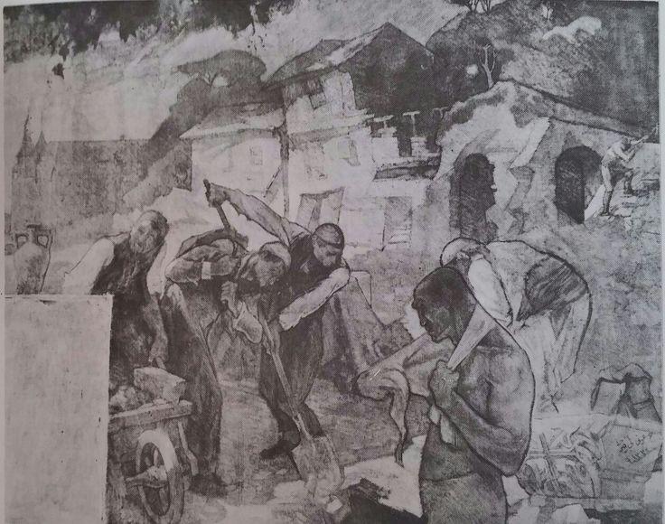 Avni Lifij: Belediye İşçileri.Detay. (Kadıköy Belediyesi için,1916). Tuval uzerine yagliboya. 172×505cm. İstanbul resim ve heykel muzesi