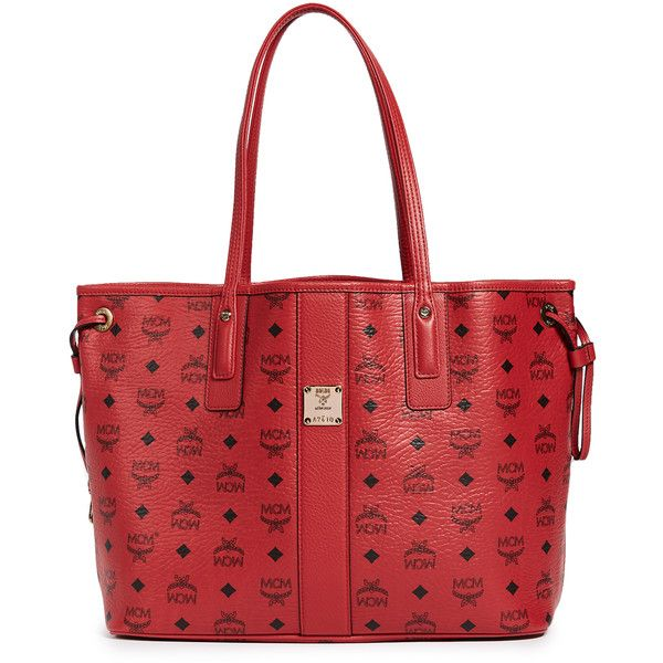 MCM Shopper Tote ($610) ❤ liked on Polyvore featuring bags, handbags, tote bags, ruby red, monogrammed leather tote, red leather tote, mcm tote bag, drawstring pouch and monogrammed tote bags
