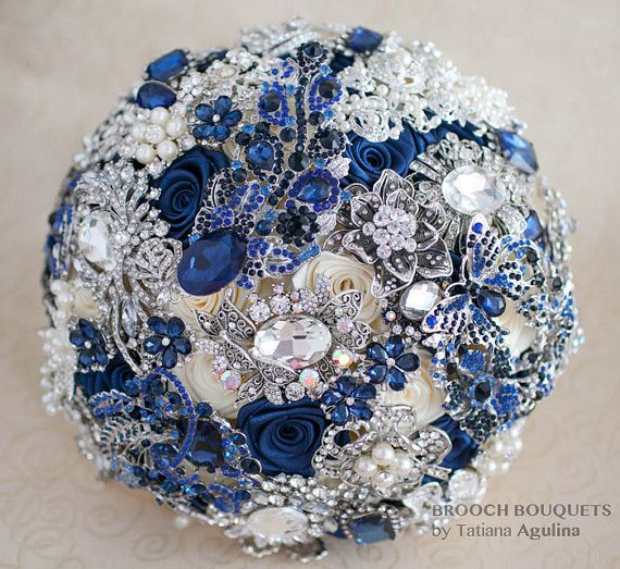 Navy blue and Silver wedding brooch bouquet