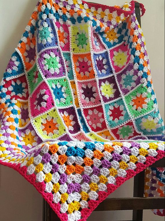 Daisy Granny Squares BRIGHT Blanket Afghan Crochet by Thesunroomuk …