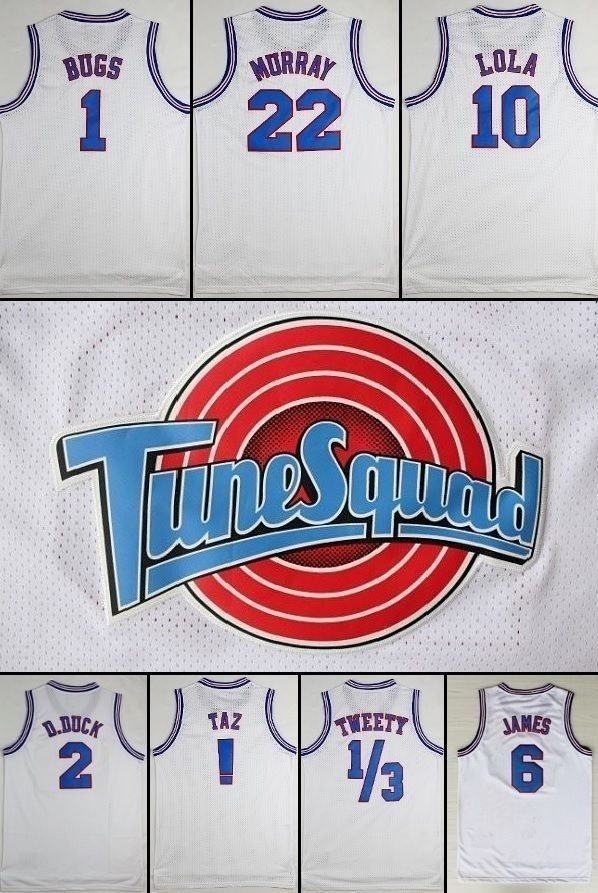 SPACE JAM BASKETBALL TUNE SQUAD JERSEYS ALL SIZE WHITE AND BLACK GET FREE GIFT…