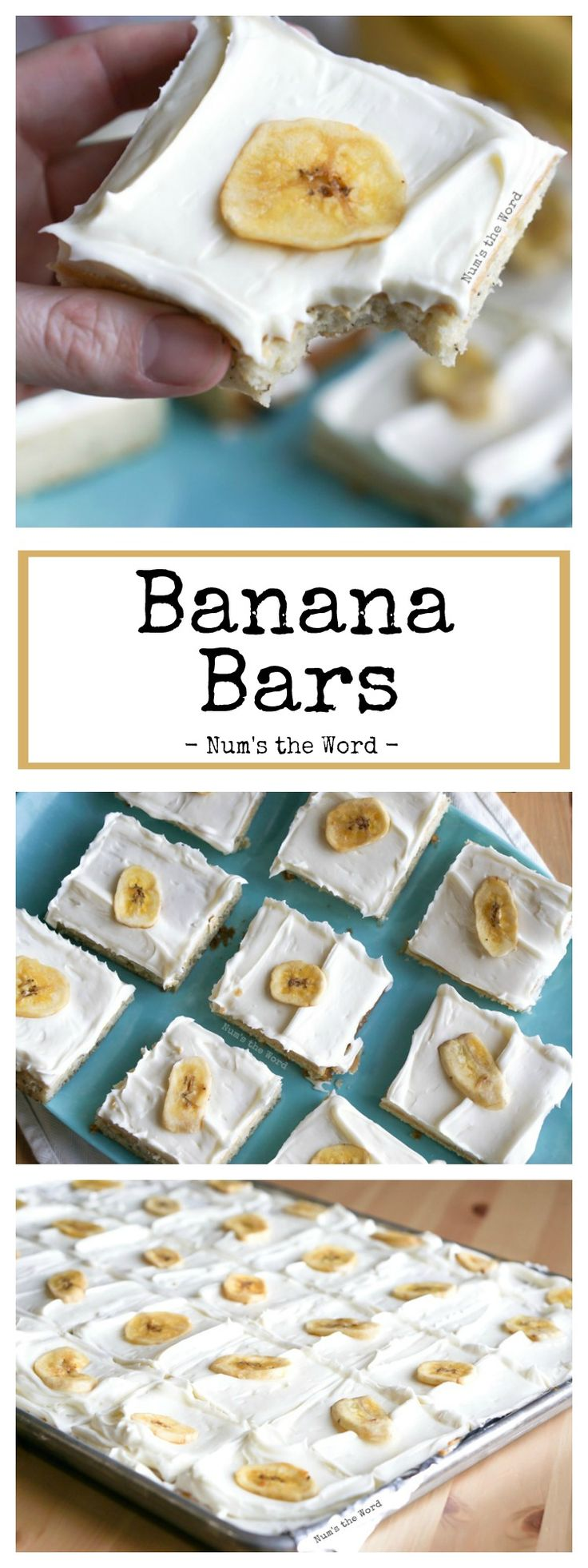 These Banana Bars are easy and straight forward. Topped with homemade cream cheese frosting and they become irresistible! A perfect, easy kid approved treat!
